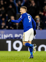 Leicester City's Jamie Vardy celebrates scoring his side's second goal from the penalty spot <br /> <br /> Photographer Andrew Kearns/CameraSport<br /> <br /> The Premier League - Leicester City v Aston Villa - Monday 9th March 2020 - King Power Stadium - Leicester<br /> <br /> World Copyright © 2020 CameraSport. All rights reserved. 43 Linden Ave. Countesthorpe. Leicester. England. LE8 5PG - Tel: +44 (0) 116 277 4147 - admin@camerasport.com - www.camerasport.com