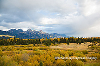 67545-09617 Fall color and Grand Teton Mountain Range from Blacktail Falls Overlook, Grand Teton National Park, WY