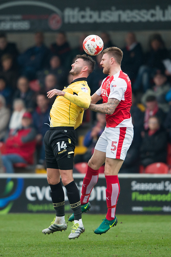 Fleetwood Town's Ashley Eastham battles with Bolton Wanderers' Gary Madine<br /> <br /> Photographer Terry Donnelly/CameraSport<br /> <br /> The EFL Sky Bet League One - Fleetwood Town v Bolton Wanderers - Saturday 11th March 2017 - Highbury Stadium - Fleetwood<br /> <br /> World Copyright &copy; 2017 CameraSport. All rights reserved. 43 Linden Ave. Countesthorpe. Leicester. England. LE8 5PG - Tel: +44 (0) 116 277 4147 - admin@camerasport.com - www.camerasport.com