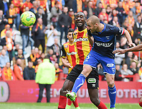 20170415 - LENS , FRANCE : Auxerre's Lionel Mathis (5) scores the opening goal pictured during the soccer match between Racing Club de LENS and AJ Auxerre , on the thirty third matchday in the French Dominos pizza Ligue 2 at the Stade Bollaert Delelis stadium , Lens . Saturday 15 April 2017 . PHOTO DIRK VUYLSTEKE | SPORTPIX.BE