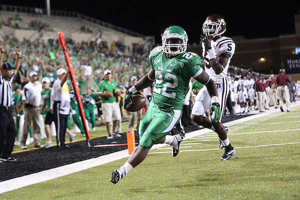 Denton, TX - SEPTEMBER 8: Antoinne Jimmerson #22 of the North Texas Mean Green runs for a touchdown againstTray Walker #5 of the Texas Southern Tigers at Apogee Stadium in Denton on September 8, 2012 in Denton, Texas. NT won 34-7. Photo by: Rick Yeatts