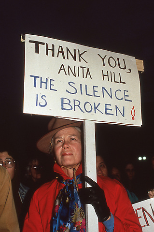 Protest during the confirmation vote to appoint Clarence Thomas to the US Supreme Court at the JFK Federal Building in Boston, MA October 15, 1991