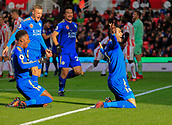 4th November 2017, bet365 Stadium, Stoke-on-Trent, England; EPL Premier League football, Stoke City versus Leicester City; Vincente Iborra of Leicester City celebrates scoring to make it 1-0 to Leicester in the 33rd minute, joined by Jamie Vardy, Shinji Okazaki and Demarai Gray