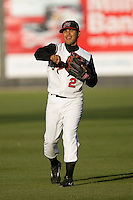 Jose Castro #2 of the Carolina Mudcats warms up in the outfield at Five County Stadium May 19, 2009 in Zebulon, North Carolina. (Photo by Brian Westerholt / Four Seam Images)