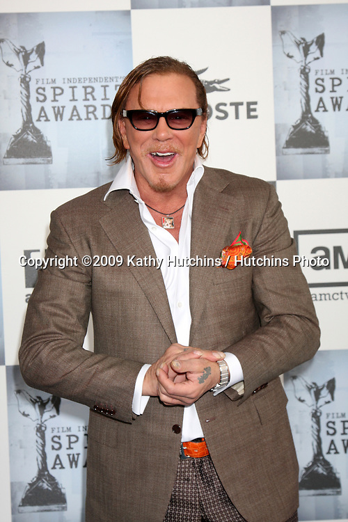 Mickey Rourke  arriving  at the  Film Indpendent's  24th Annual Spirit Awards on the beach in Santa Monica, CA  on.February 21, 2009.©2009 Kathy Hutchins / Hutchins Photo...                .