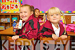 Nora O'Brien and Elizabeth Silina pictured on their first day of school at moyderwell primary, Tralee on Thursday.