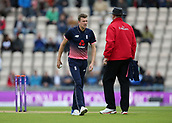 29th September 2017, Ageas Bowl, Southampton, England; One Day International Series, England versus West Indies; Jake Ball of England prepares to bowl the first over