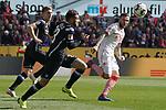 09.03.2019, RheinEnergieStadion, Koeln, GER, 2. FBL, 1.FC Koeln vs. Arminia Bielefeld,<br />  <br /> DFL regulations prohibit any use of photographs as image sequences and/or quasi-video<br /> <br /> im Bild / picture shows: <br /> Marco H&ouml;ger / Hoeger (FC Koeln #6),  im Zweikampf gegen  Jonathan Clauss (Arminia Bielefeld #23), <br /> <br /> Foto &copy; nordphoto / Meuter