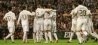02.05.2012 SPAIN -  La Liga matchday 20th  match played between Athletic de Bilbao vs Real Madrid (0-3) at San Mames stadium, Real Madrid was proclaimed as champion of the League for 32nd time. The picture show Real Madrid CF players celebrate the victory