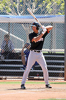 Jarrett Parker #2 of the San Francisco Giants plays in a minor league spring training game against the Chicago Cubs at the Cubs minor league complex on March 29, 2011  in Mesa, Arizona. .Photo by:  Bill Mitchell/Four Seam Images.