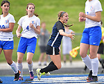 Columbia's Chloe Graff (center) turns and runs towards teammates after scoring a goal in the Class 1A girls soccer supersectional game played at Columbia High School in Columbia, IL on Tuesday May 21, 2019.<br /> Tim Vizer/Special to STLhighschoolsports.com