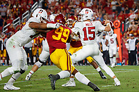 LOS ANGELES, CA - SEPTEMBER 8: Stanford Cardinal quarterback Davis Mills #15 attempts a pass during a game between USC and Stanford Football at Los Angeles Memorial Coliseum on September 7, 2019 in Los Angeles, California.