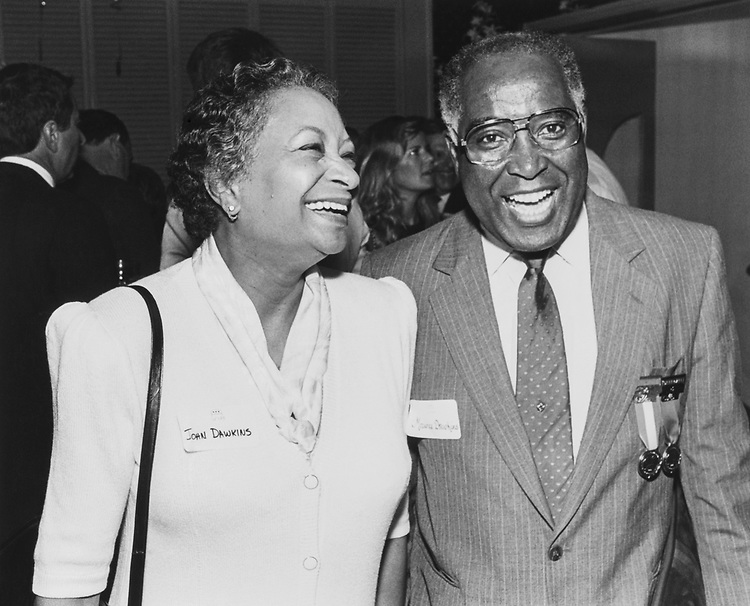 Congressman Maurine Dawkins with wife Joan Simpson for Jazz Burad, on Sep. 11, 1988. (Photo by Andrea Mohin/CQ Roll Call via Getty Images)