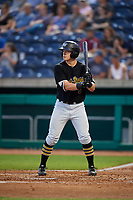 West Virginia Black Bears right fielder Brett Kinneman (5) at bat during a game against the State College Spikes on August 30, 2018 at Medlar Field at Lubrano Park in State College, Pennsylvania.  West Virginia defeated State College 5-3.  (Mike Janes/Four Seam Images)