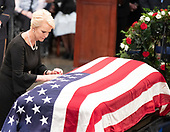 Mrs. Cindy McCain, wife of the late United States Senator John McCain (Republican of Arizona), says a prayer for her husband during the Lying in State ceremony honoring  in the US Capitol Rotunda in Washington, DC on Friday, August 31, 2018.<br /> Credit: Ron Sachs / CNP<br /> <br /> <br /> (RESTRICTION: NO New York or New Jersey Newspapers or newspapers within a 75 mile radius of New York City)