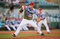 Florida Fire Frogs relief pitcher Justin Kelly (17) delivers a pitch during a game against the St. Lucie Mets on April 19, 2018 at Osceola County Stadium in Kissimmee, Florida.  St. Lucie defeated Florida 3-2.  (Mike Janes/Four Seam Images)