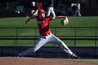 GREENSBORO, NC - FEBRUARY 25: Josh Arnold #2 of Fairfield University pitches the ball during a game between Fairfield and UNC Greensboro at UNCG Baseball Stadium on February 25, 2020 in Greensboro, North Carolina.