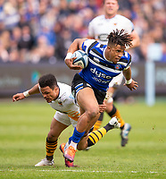 Bath Rugby's Anthony Watson evades the tackle of Wasps' Juan De Jongh<br /> <br /> Photographer Bob Bradford/CameraSport<br /> <br /> Premiership Rugby Cup - Bath Rugby v Wasps - Sunday 5th May 2019 - The Recreation Ground - Bath<br /> <br /> World Copyright © 2018 CameraSport. All rights reserved. 43 Linden Ave. Countesthorpe. Leicester. England. LE8 5PG - Tel: +44 (0) 116 277 4147 - admin@camerasport.com - www.camerasport.com