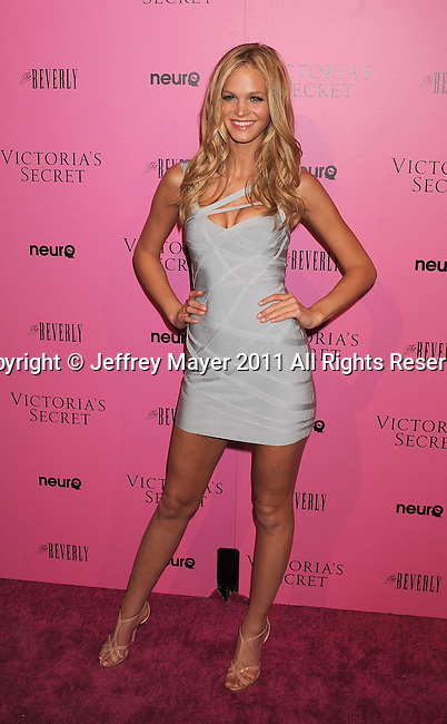 "LOS ANGELES, CA - MAY 12: Erin Heatherton arrives to the Victoria's Secret 6th Annual ""What Is Sexy? List: Bombshell Summer Edition"" Pink Carpet Event at The Beverly on May 12, 2011 in Los Angeles, California."