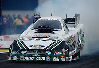 Sept. 28, 2012; Madison, IL, USA: NHRA funny car driver Mike Neff during qualifying for the Midwest Nationals at Gateway Motorsports Park. Mandatory Credit: Mark J. Rebilas-