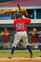 Nick Ahmed #22] of the Danville Braves at bat against the Burlington Royals at Burlington Athletic Park on August 12, 2011 in Burlington, North Carolina.  The Braves defeated the Royals 8-3.   (Brian Westerholt / Four Seam Images)