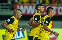 PEREIRA - COLOMBIA, 10-06-2019: Jugadores del Pereira celebran después de anotar el segundo gol durante partido entre Deportivo Pereira y Cortuluá por la final vuelta de la Liga Águila 2019 I jugado en el estadio Hernán Ramírez Villegas de la ciudad de Pereira. / Players of Pereira celebrate after scoring the second goal during second leg final match between Deportivo Pereira and Cotulua for the Aguila Tournament 2019 I played at the Hernan Ramirez Villegas stadium in Pereira city.  Photo: VizzorImage/ Juan Torres / Cont