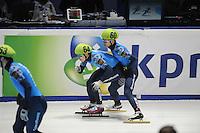 SHORTTRACK: DORDRECHT: Sportboulevard Dordrecht, 24-01-2015, ISU EK Shorttrack, Relay, Ruslan ZAKHAROV (RUS | #64), Victor AN (RUS | #60), ©foto Martin de Jong