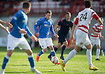 Hamilton Academical St Johnstone....04.04.15<br /> Danny Swanson tries to break through the Accies defence<br /> Picture by Graeme Hart.<br /> Copyright Perthshire Picture Agency<br /> Tel: 01738 623350  Mobile: 07990 594431