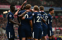 Harry Kane of Tottenham celebrates with his team mates  after he scores to make it 2-1 during the EPL - Premier League match between Chelsea and West Ham United at Stamford Bridge, London, England on 8 April 2018. Photo by PRiME Media Images.