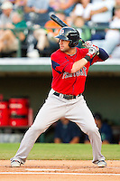 Ryan Kalish #2 of the Pawtucket Red Sox at bat against the Charlotte Knights at Knights Stadium on August 11, 2011 in Fort Mill, South Carolina.  The Red Sox defeated the Knights 3-2.   (Brian Westerholt / Four Seam Images)