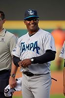 Tampa Tarpons coach Michel Hernandez (41) during introductions before a game against the Lakeland Flying Tigers on April 5, 2018 at Publix Field at Joker Marchant Stadium in Lakeland, Florida.  Tampa defeated Lakeland 4-2.  (Mike Janes/Four Seam Images)