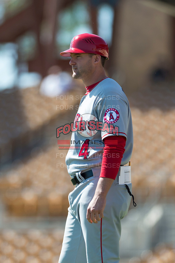 Mesa Solar Sox manager Lou Marson (4), of the Los Angeles Angels organization, during an Arizona Fall League game against the Glendale Desert Dogs at Camelback Ranch on October 15, 2018 in Glendale, Arizona. Mesa defeated Glendale 8-0. (Zachary Lucy/Four Seam Images)