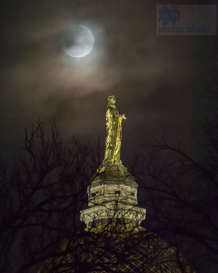 February 10, 2017; Penumbral eclipse over the Dome (Photo by Matt Cashore/University of Notre Dame)