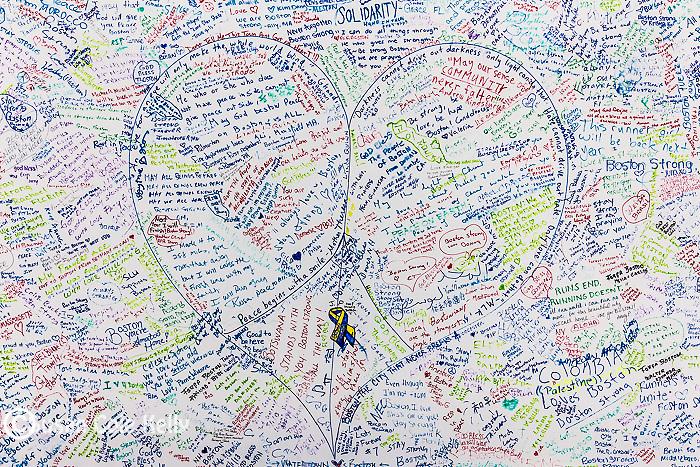 The Boston Marathon bombing memorial in Copley Square, Boston, Massachusetts, USA
