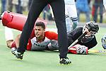 ALMERE - Hockey - Hoofdklasse competitie heren. ALMERE-HGC (0-1) . Daniel de Haan (Almere) stuit op Sam van der Ven (HGC)  COPYRIGHT KOEN SUYK