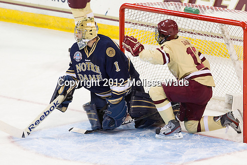 Steven Summerhays (Notre Dame - 1), Johnny Gaudreau (BC - 13) - The Boston College Eagles defeated the visiting University of Notre Dame Fighting Irish 3-1 (EN) on Friday, November 9, 2012, at Kelley Rink in Conte Forum in Chestnut Hill, Massachusetts.