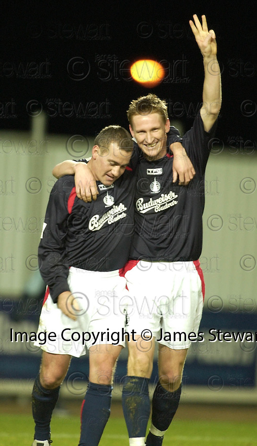 18/12/2004  Copyright Pic : James Stewart.File Name : jspa10_falkirk_v_qots.DANIEL MCBREEN SIGNALS NO.3 AS HE CELEBRATES SCORING HIS HAT TRICK AND FALKIRK'S FOURT WITH RUSSELL LATAPY......Payments to :.James Stewart Photo Agency 19 Carronlea Drive, Falkirk. FK2 8DN      Vat Reg No. 607 6932 25.Office     : +44 (0)1324 570906     .Mobile   : +44 (0)7721 416997.Fax         : +44 (0)1324 570906.E-mail  :  jim@jspa.co.uk.If you require further information then contact Jim Stewart on any of the numbers above.........