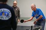 Bill Kenson, left, and Bob Peterson practice for the Reno Tahoe Senior Games table tennis competition at the Carson City Senior Citizen Center in Carson City, Nev., on Friday, Jan. 29, 2016. <br /> Photo by Cathleen Allison