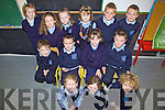 First Day - Junior Infants enjoying their first day at O'Brennan NS on Tuesday. Front l/r Aideen Lynch, Saoirse Glavin-Murphy and Geraldine Cassidy. Seated l/r Jared O'Briain, Kieran Slattery, Grainne Galvin and Austin Fitzgerald. Standing l/r Yvonne Hurly, Dawn McLarnon, Eimear Curran, Allyssa O'Shea-Leen, Jamie Sugrue and Luke O'Connell................................................................................................................................................................................................................................................................. ............