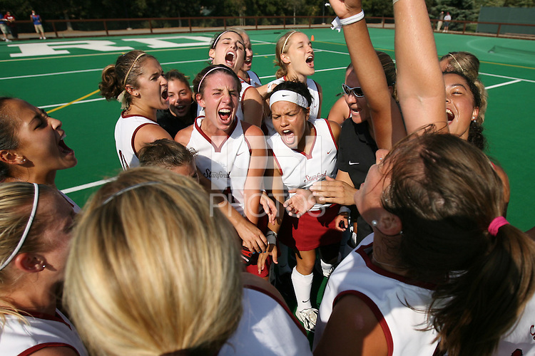 6 November 2007: Stanford Cardinal head coach Lesley Irvine, Camille Gandhi, Midori Uehara, Jaimee Erickson, Nora Soza, Jess Zutz, Rachel Mozenter, Hillary Braun, Xanthe Travlos, Jennifer Luther, Bailey Richardson, Heather Alcorn, Lisa Maffucci, Katherine Swank, Chloe Bade, Caroline Hussey, Marlana Shile, Rachel Bush, Katherine Donner, Annika Alexander-Ozinskas, Madison Bell, Alessandra Moss, Julia Druce during Stanford's 1-0 win against the Lock Haven Lady Eagles in an NCAA play-in game to advance to the NCAA tournament at the Varsity Field Hockey Turf in Stanford, CA.