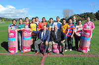 Heartland players pose for a group photo with Sir Brian Lochore and Sir Colin Meads during the Pink Batts Heartland Championship 2013 season launch at Waikanae RFC, Waikanae, New Zealand on Tuesday, 13 August 2013. Photo: Dave Lintott / lintottphoto.co.nz