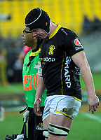James Blackwell walks off injured during the Mitre 10 Cup rugby match between Wellington Lions and Tasman Makos at Westpac Stadium in Wellington, New Zealand on Sunday, 19 August 2018. Photo: Dave Lintott / lintottphoto.co.nz