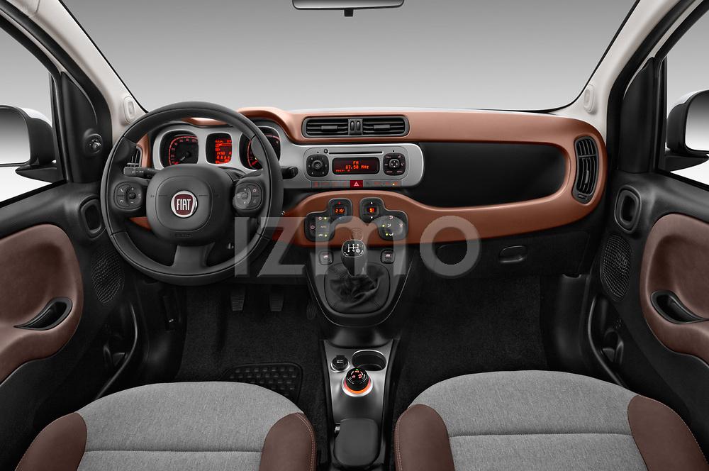 Stock photo of straight dashboard view of 2017 Fiat Panda Cross 5 Door SUV Dashboard