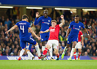 Ben Osborn of Nottingham Forest is challenged by Cesc Fabregas of Chelsea, Carabao Cup, Third Round, Chelsea v Nottingham Forrest, Stamford Bridge, London, United Kingdom, 20th  September 2017