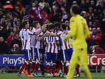 Atletico de Madrid team celebrates goal during the UEFA Champions League semifinal first leg football match Club Atletico de Madrid vs Olympiacos at the Vicente Calderon stadium in Madrid on November 26, 2014.   PHOTOCALL3000/ DP