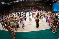 "Gymnasts from many countries lineup during opening ceremony at 2008 World Cup Kiev, ""Deriugina Cup"" in Kiev, Ukraine on March 22, 2008."