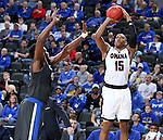 SIOUX FALLS, SD: MARCH 5: Tre'Shawn Thurman #15 from Omaha shoots over Brent Calhoun #45 from Fort Wayne during the Summit League Basketball Championship on March 5, 2017 at the Denny Sanford Premier Center in Sioux Falls, SD. (Photo by Dave Eggen/Inertia)