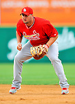 7 March 2012: St. Louis Cardinals first baseman Matt Adams warms up prior to a game against the Washington Nationals at Space Coast Stadium in Viera, Florida. The teams battled to a 3-3 tie in Grapefruit League Spring Training action. Mandatory Credit: Ed Wolfstein Photo