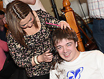 Matthew Doggett has his head shaved by Shauna McDonnell to raise funds for the Gary Kelly Cancer Support Centre in the Boyne Valley Inn Slane. Photo:Colin Bell/pressphotos.ie