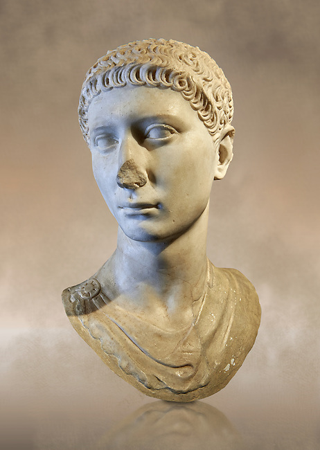 Roman portrait bust of a young charioteer from the age of Domitian, 81-96AD. This statue of a young charioteer, with Oriental eastern Mediterranean features, is wearing a tunic stopped on the right shoulder by a flattened circular fibula (clasp). The hairstyle, with its 'S' shaped curls, was made artificially with an iron (calamistrum). This style was inspired by official portrayts of a young Domitian, who emulated Neronian style during the last years of his reign. The bust was rounded to be inserted onto a modern pillar. . Inv 276, The National Roman Museum, Rome, Italy